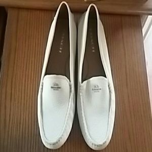 Coach cream leather loafers